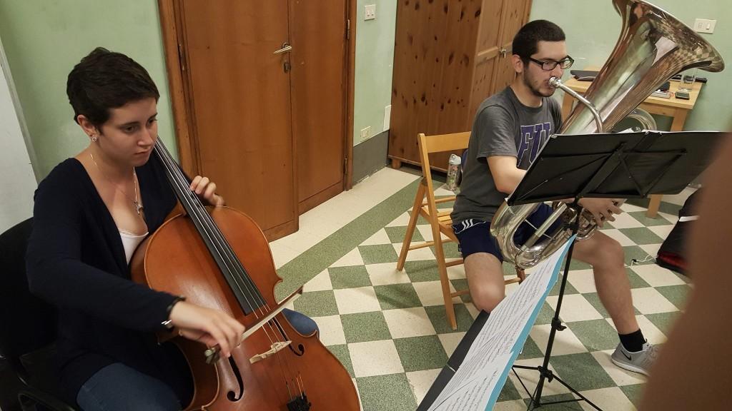 Music students Amanda Burth and Paul Haarala practicing in the Villa