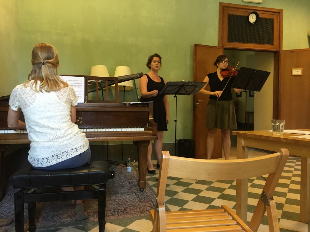 Music students practicing in the Villa