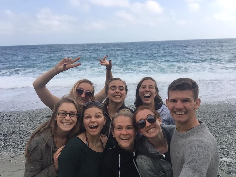 Pictured from left: Lexi Solazzo, Julia Krawczyk, Christa Maxwell, Carly Haig, Sydney Burrows, Maia Potok-Holmes, Olivia Wood, Sean McCoy