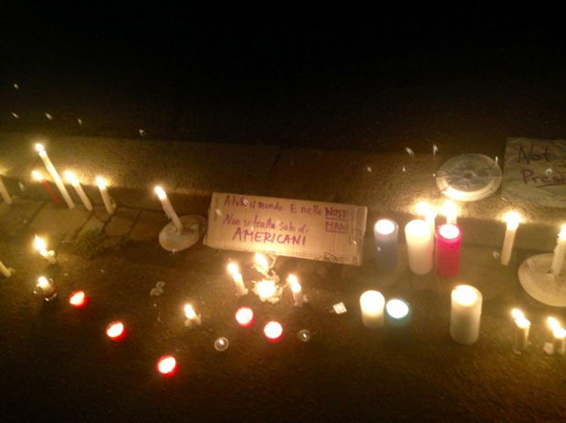 Taken at a candlelight vigil held by Democrats Abroad in Florence, December 13th