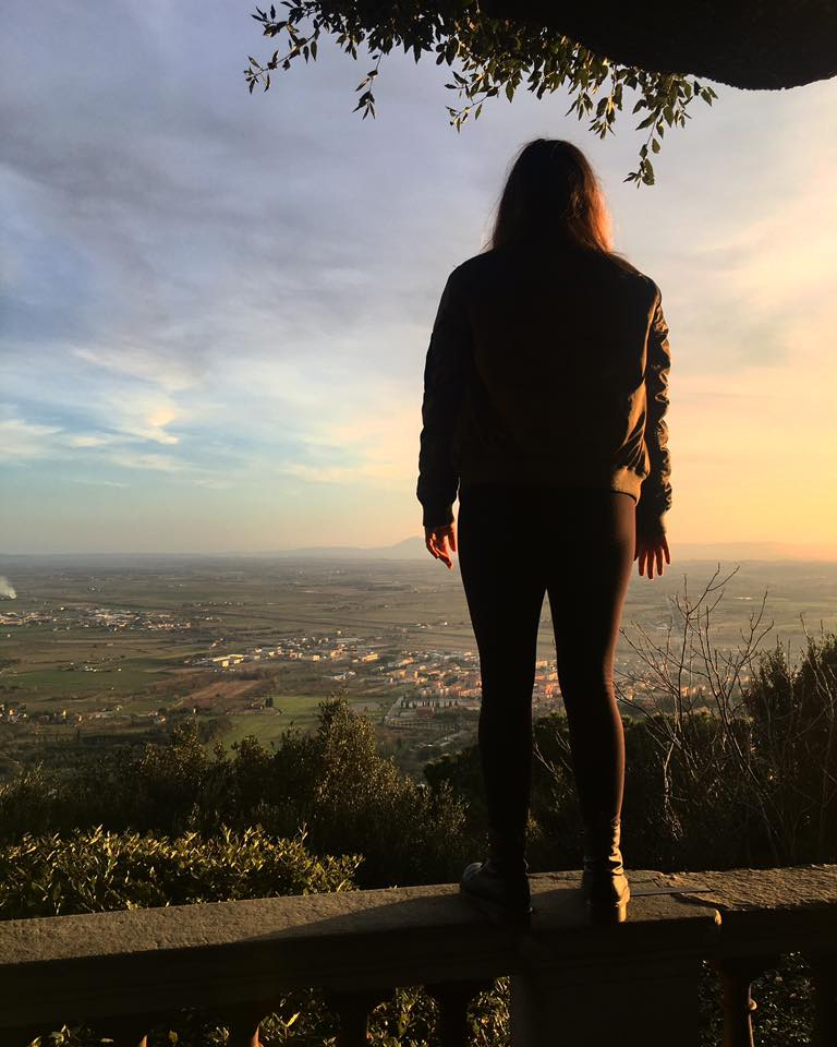 Watching the sunset in Cortona Pictured: Sophia Gore