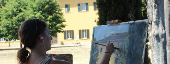 painting outside the villa geneva