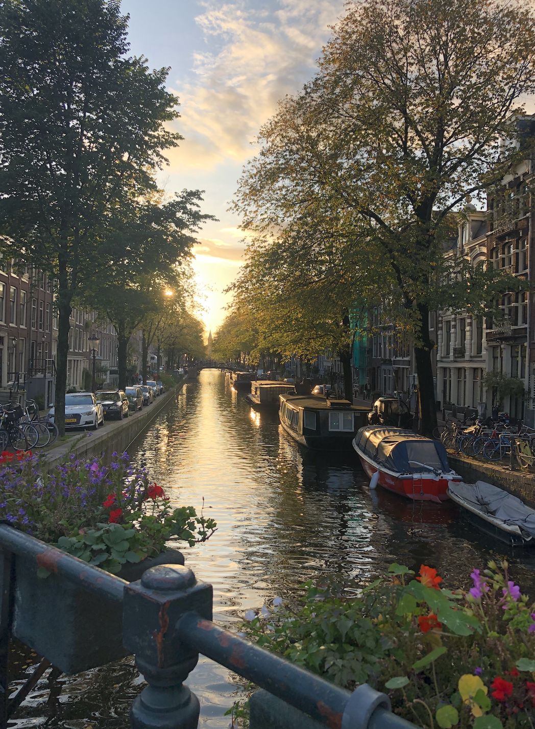 The canals of Amsterdam at sunset